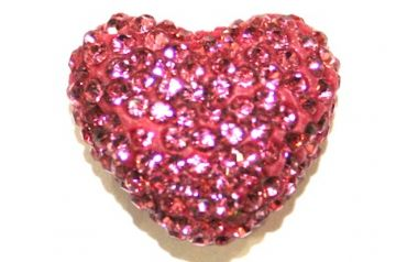 Dark Pink Pave Crystal Half Drilled Heart / Bail Supplied Separately